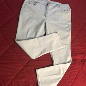Woman Within stretch jeans light wash sz 22 W Tall